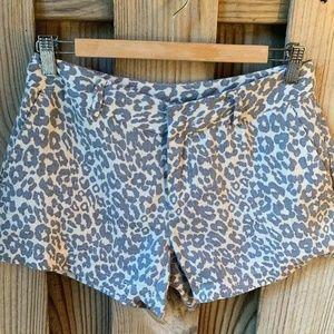 Cynthia Rowley Womens Shorts 2 Linen Cheetah